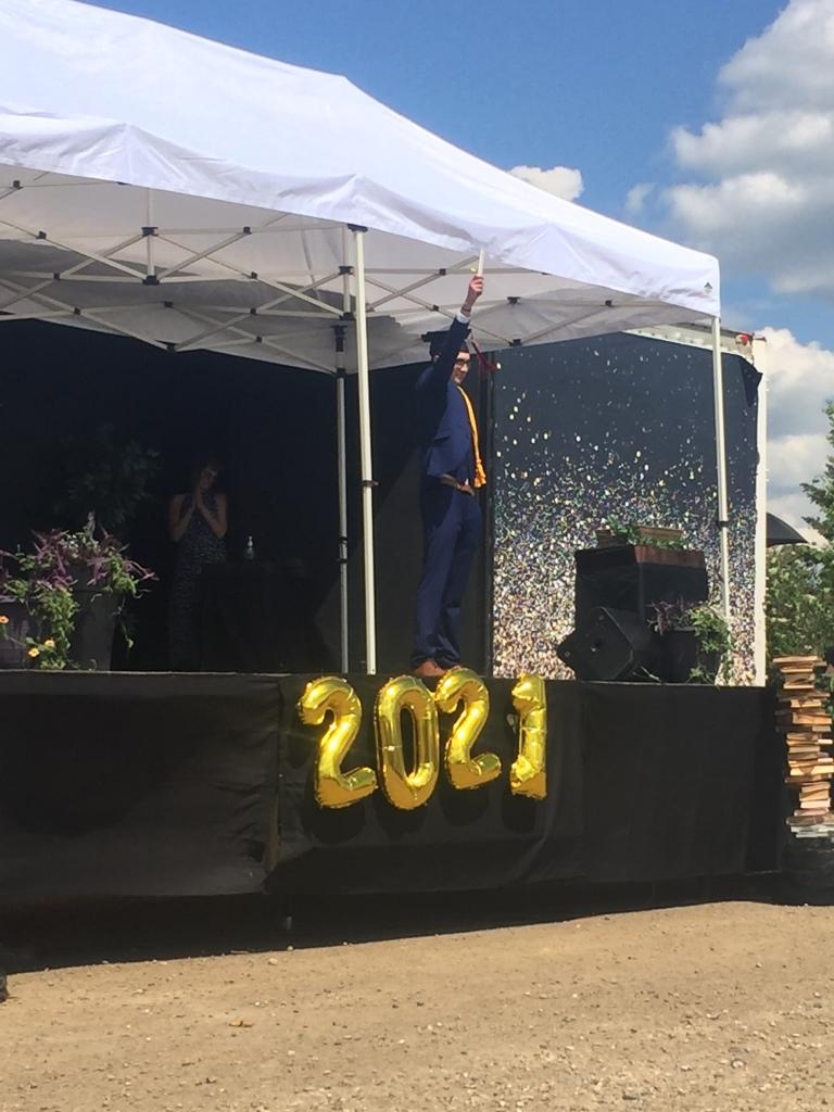 Getting His diploma