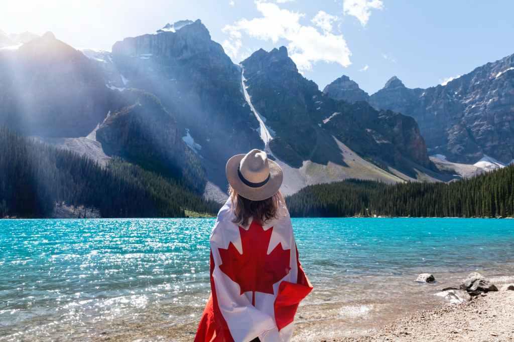 Woman with Maple leaf, Canada flag