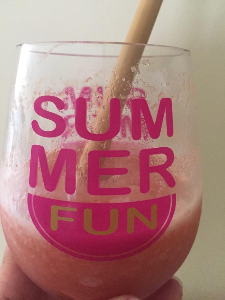 Slushee in glass with straw